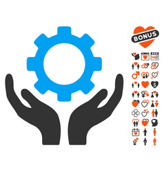 Gear maintenance hands icon with dating bonus vector