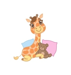 Giraffe with teddy bear vector