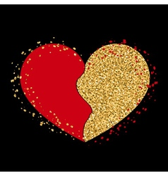 Halves gold heart icon Golden red splash vector image