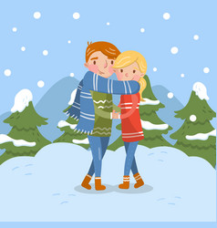 happy couple in love romantic man and woman vector image