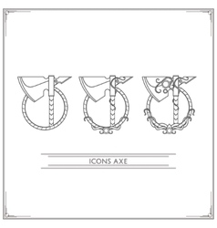 Icons Fantasy Axe Lineart vector image vector image