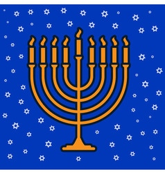 jewish traditional nine candle candelabrum vector image