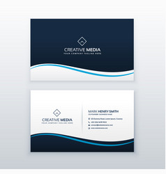 Minimal wavy business card design template vector