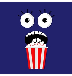 Popcorn screaming face vector image vector image