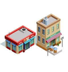 Restaurant buildings composition vector