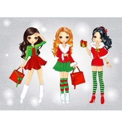 Santa Girls Do Christmas Shopping vector image