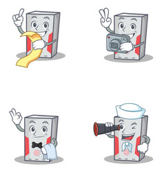 Set of computer character with menu photo waiter vector