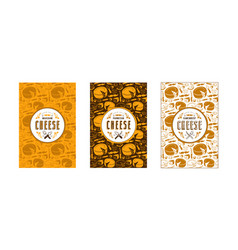 Set of seamless pattern and labels for cheese vector