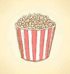 Sketch pop corn in vintage style vector image