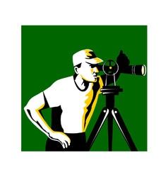 Surveyor geodetic engineer survey retro vector
