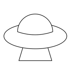 Ufo saucer space flying outline vector