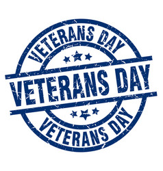 Veterans day blue round grunge stamp vector