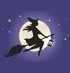 witch flying on a broom vector image