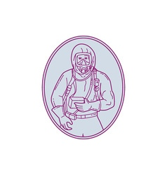 Worker Haz Chem Suit Oval Mono Line vector image