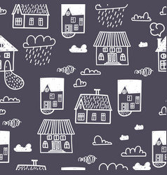 spring town seamless pattern with hand draw vector image