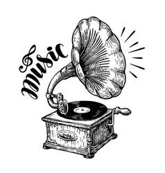hand drawn gramophone sketch music nostalgia vector image