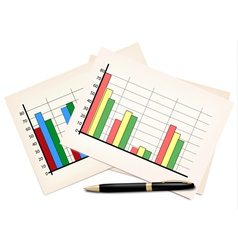 Business concept with finance graphs and black pen vector