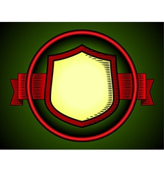 Woodcut shield label vector