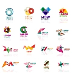 Geometric shapes company logo set paper origami vector