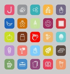 Sweet food line flat icons vector