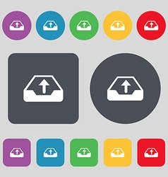 Backup icon sign a set of 12 colored buttons flat vector