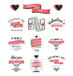 Valentines day lettering cards labels and logo vector