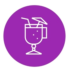 Glass with drinking straw and umbrella line icon vector