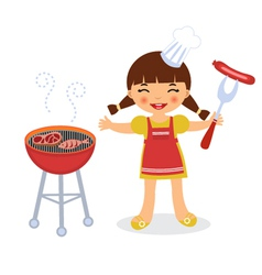 Barbeque girl vector image