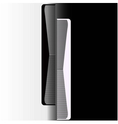 Black and white comb on a gray background vector