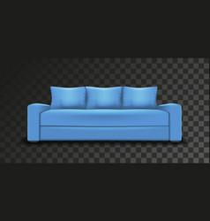 Blue sofa single object realistic design on vector