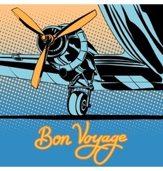 Bon voyage retro travel airplane poster vector