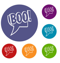 Boo comic text speech bubble icons set vector