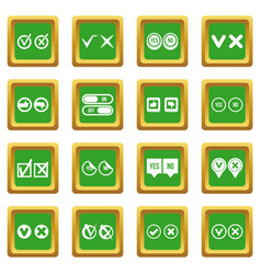 check mark icons set green vector image
