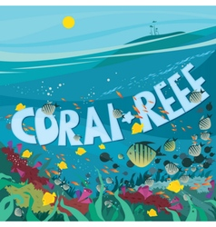 Coral reef with fish and seaweed vector