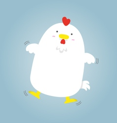 Cute big fat white hen flying vector