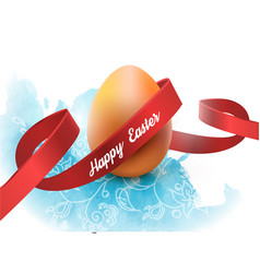 easter egg with red ribbon isolated on white vector image