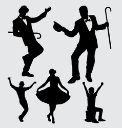 Entertainer male and female silhouette vector
