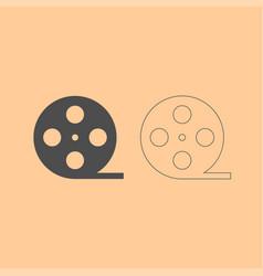 Film strip dark grey set icon vector