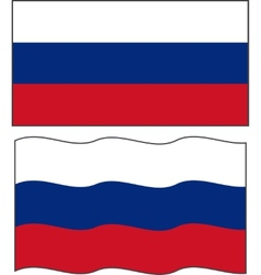 Flat and waving Russian Flag vector image vector image
