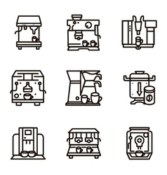 Flat line icons for selling coffee machines vector image