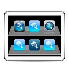 Global search blue app icons vector image vector image
