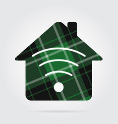 Green black tartan isolated - house with signal vector