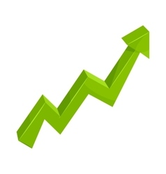 Green growth arrow chart icon cartoon style vector image vector image