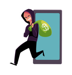 hacker stealing money cybercrime internet fraud vector image
