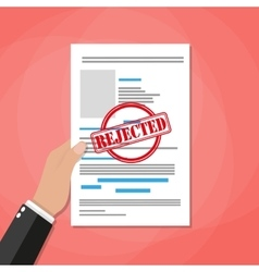 Hand holds rejected paper document vector image