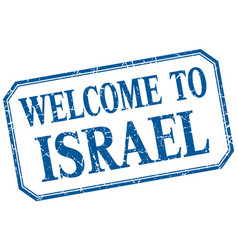 Israel - welcome blue vintage isolated label vector