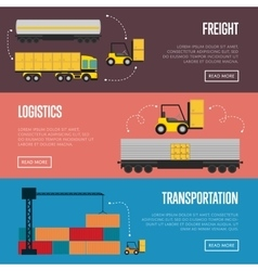 Logistics and transportation banner set vector