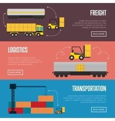 Logistics and transportation banner set vector