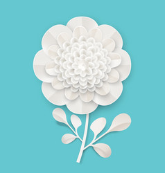 Lush peony on small stem with leaves made of paper vector