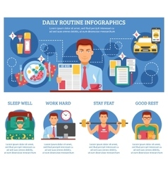 Man daily routine infographics vector